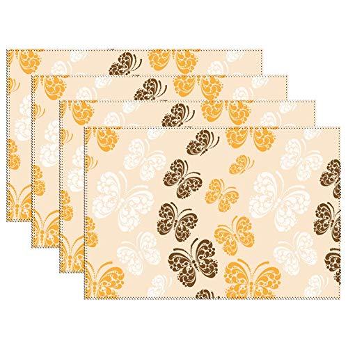 Geel Bruin Wit Vlinder Patroon Set Van 4 Hittebestendige Vlek Isolatie Plaats Matten Anti-slip Wasbaar Canvas Tafel Placemats Voor Chistmas Vakantie Decor 12 X 18 Inch