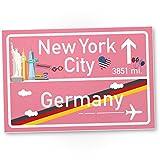 New York City Kunststoff Schild rosa, Geschenk für sie - New York Amerika Reise / süße Deko NYC...