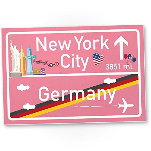 New York City Kunststoff Schild rosa, Geschenk für sie - New York Amerika Reise / süße Deko NYC Fans, Wanddeko, Türschild Mädchen Wohnung, Geschenkidee Geburtstagsgeschenk beste Freundin, Party Deko