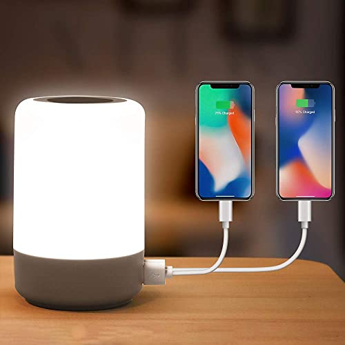 Table Lamp Touch Night Light - 4 Quickly Charge USB Port Bedside Lamps with Dimming Warm White Light 13 Colors RGB Ta...