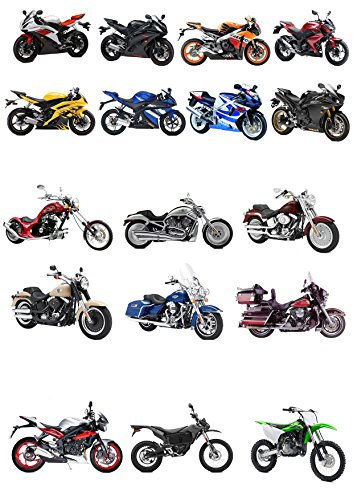 17 Stand Up Motorbikes Bike Themed Edible Wafer paper Cake Toppers Decorations by Top That