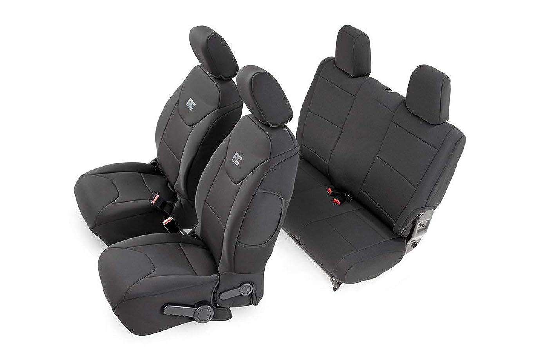 Rough Country 91007 Black Neoprene Seat Cover (Front/Rear) for 13-18 Jeep Wrangler JK 2-Door