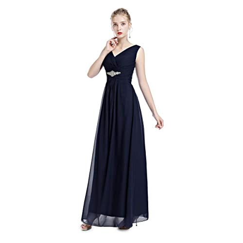 30a68356dbf IWEMEK Women s Bridesmaids Formal Chiffon Wedding Prom Dress Spaghetti  Strap Sleeveless V-Neck Maxi Dress