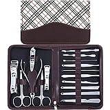 Set de manicura y pedicura para hombres y mujeres con funda de rayas diagonales blancas, 16 en 1, herramientas de uñas de acero al carbono para viajes y hogar