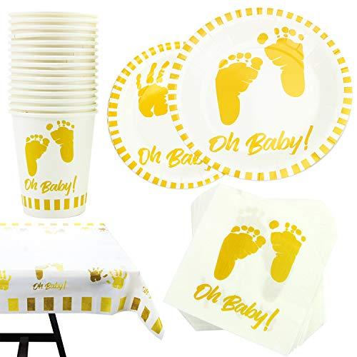 Kompanion 141 Piezas – Vajilla Desechable – Accesorios para Celebración de Baby Shower - Decoración para Fiesta de Bienvenida de Bebé-, Platos, Vasos, Servilletas, Mantel Decorativo – 30 Invitados