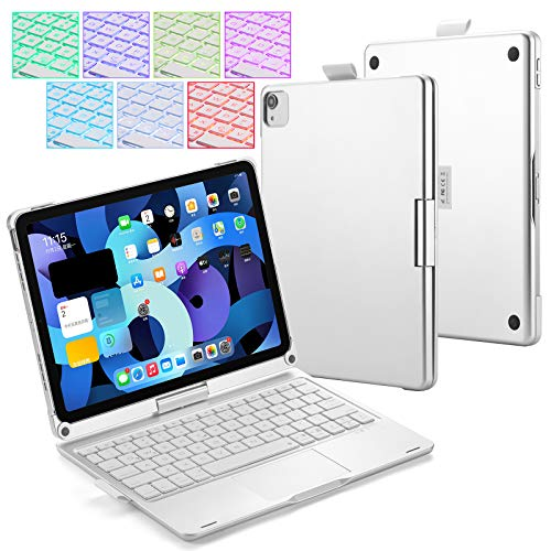 UIQELYS iPad Keyboard Case for 2020 iPad Air 10.9 (4rd Gen), A2072/A2316/A2324/A2325, Backlit Keyboard with Touchpad, Wireless Bluetooth 360° Rotatable Case for 10.9 inch Tablet (Silver)