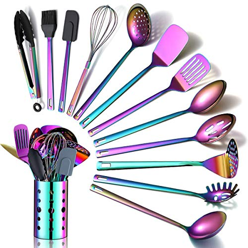 Rainbow Kitchen Utensils Set,13 Pieces Stainless Steel Cooking Utensils Set With Titanium Rainbow Plating,Kitchen Tools Set With Utensil Holder For Non-Stick Cookware Dishwasher Safe (13 Packs)