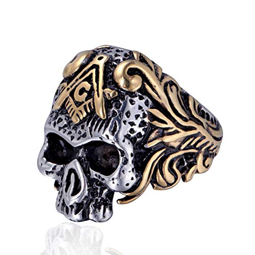 Personality Stainless Steel Skull Rings, AG Masonic Master Mason Signet Punk Band Jewelry, Punk Hip Hop Party Gift Accessories Men/Women Unisex Vintage Rings Jewelry, 7-13 Size,Mixed Gold,8
