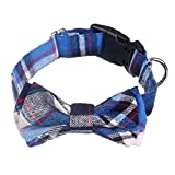 AcornPets C-022 Hand-made Classical <span class='highlight'>Blue</span> <span class='highlight'>Tartan</span> <span class='highlight'>Dog</span> <span class='highlight'>Collar</span>s with Butterfly Knot Design, Size Adustable From 34 To 48 CM For Small or Medium Size <span class='highlight'>Dog</span> Up To 30 KG