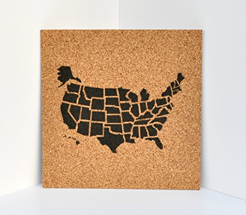 Push Pin Cork Travel Map of the United States/Wanderlust Travel Gift/USA Bulletin Board/US Corkboard