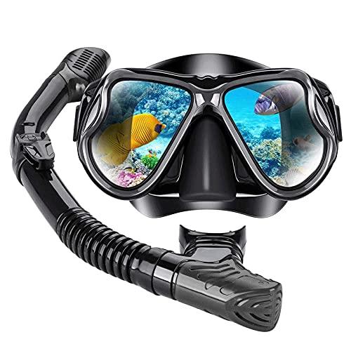 XJW Gafas de buceo plegables de cristal templado para adultos 2021/6/8 (color negro)