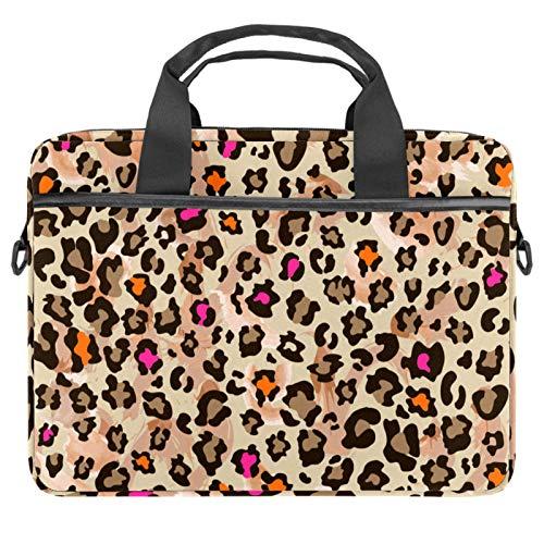 2021 Laptop Bag 15 inch Business Computer Laptop Case Laptop Sleeve Shoulder Messenger Bag Tablet Carrying Case for Women and Men Orange Rosy Leopard Print Pattern