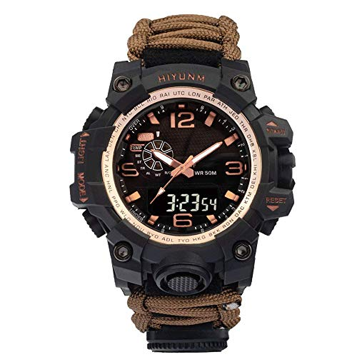 Reloj deportivo de doble pantalla para hombre, reloj de cuerda con brújula para exteriores, relojes de cuarzo electrónicos LED, relojes de pulsera militares electrónicos analógicos 50 m impermeables