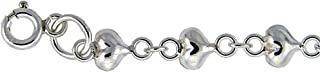 Sterling Silver Teeny puffy Hearts Charm Bracelet 5mm wide, fits 7-8 inch wrists