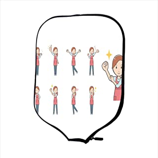 SoSung Neoprene Pickleball Paddle Racket Cover Case/Diverse Set of Young homemakerhomemaker EPS10 Vector Format