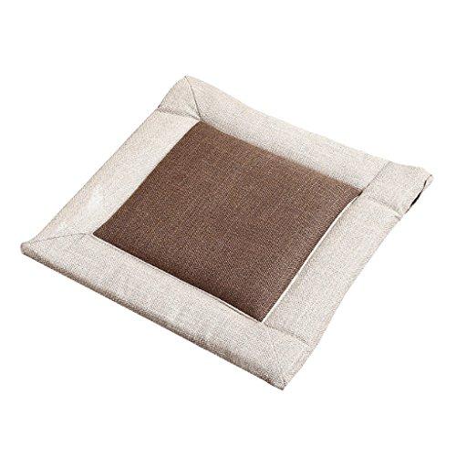 D DOLITY Flachsstoff Sitzkissen Stuhlkissen Kissen Polsterkissen für Haus Auto Sofa Stuhl Tatami - Braun, 40cm
