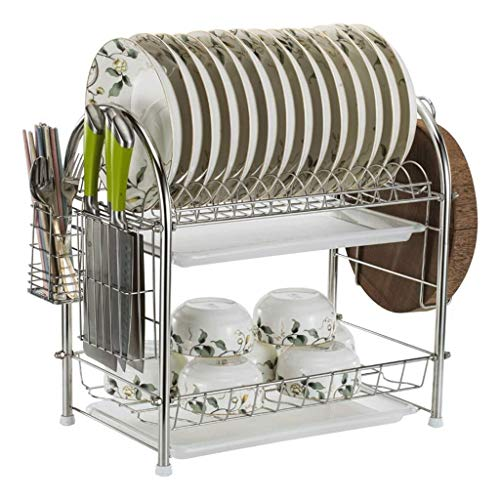 Yankuoo Kitchen RVS Organizer, Dubbellaags Compact Serviesgoed Drain Rack, Serviesgoed Droogrek Met Verwijderbaar Serviesrek En Plastic Druppelbak