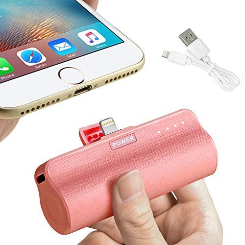 Newseego 3300mAh Mini Power Bank - Portátil Power Pack Compacto de Incorporado con Linterna LED Cargador de Batería Externa Compatible con iPhone 5 6 7 8 Plus X/XS/XR - Rosa