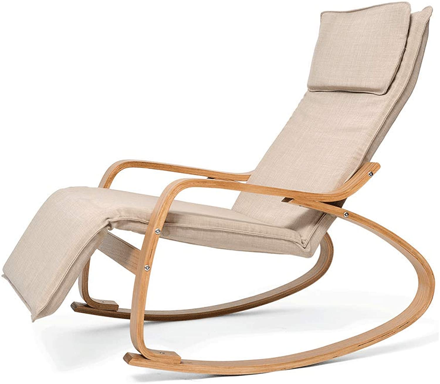 Solid Wood Rocking Chair Lounge Chair Office Lunch Break Chair Fabric Easy Chair Balcony Rocking Chair Recliner Lazy Chair (color   Natural)