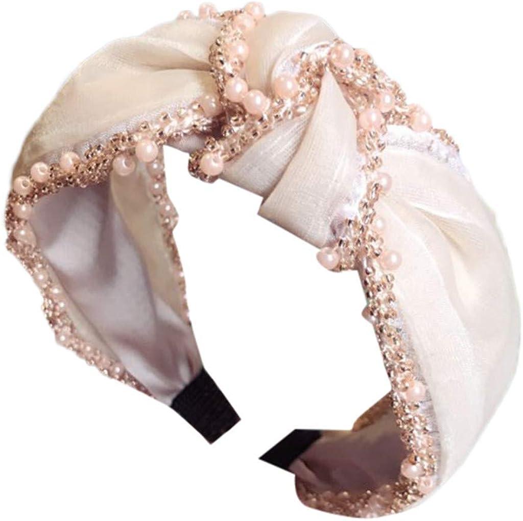 Wide Plain Headbands Twist Knot Turban Headband Crystal Fabric Head Wrap Hair Band Accessories for Women's