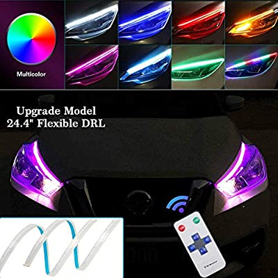 OONOL 2Pcs 24 Inch Flexible Multicolor LED Car Headlight Surface Strip Tube Light Waterproof Daytime Running Light Strip DRL Neon Turn Signal Lights Switchback Light (no disassembling needed)