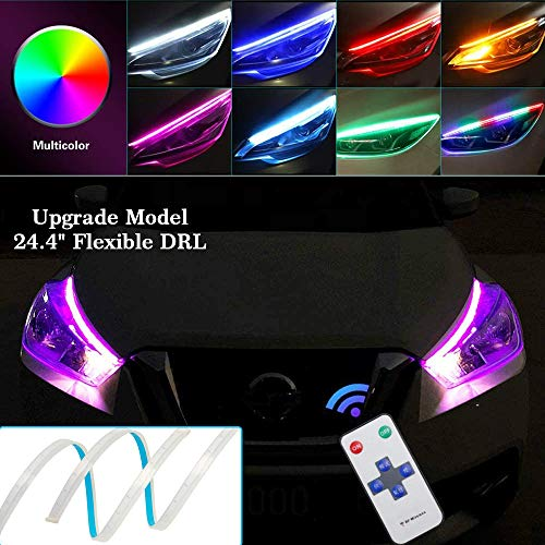 OONOL 2Pcs 24 Inch Flexible Multicolor LED Car Headlight Strip Lights Waterproof Daytime Running Lights Strip RGB DRL Turn Signal Lights Switchback Light (no disassembling needed)