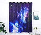 YSJ Blue Galaxy New Set Lucy Eyelet Ring Room Darkening Blackout Window Panel Curtains - Pack of 2(Blue Galaxy, 52x63)