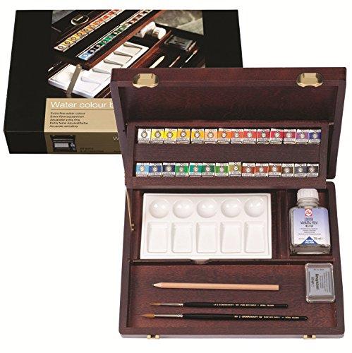 Rembrandt Watercolor Paint Wood Box Professional Set, 28 Pans + 7 Accessories, General Color Selection