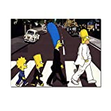 DNJKSA Simpsons Abbey Road Bart Homer Marge Canvas Painting