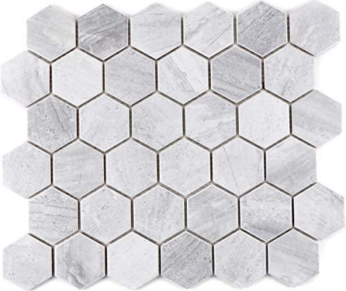 Mozaïek tegel keramiek Hexagon Travertin grijs mat tegelspiegel keuken MOS11G-0202_f | 10 mozaïekmatten