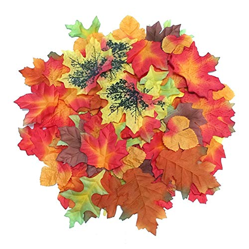 Luxbon - 100pcs Artificial Autumn Fall Maple Leaves Multi Color - Great Autumn Table Scatters for Fall Weddings & Autumn Parties Autumn Decorations