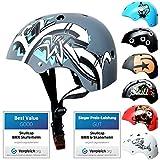 SkullCap® BMX & Casco per Skater Casco - Bicicletta & Monopattino Elettrico, Design: Graffiti, Taglia: 58-61 cm