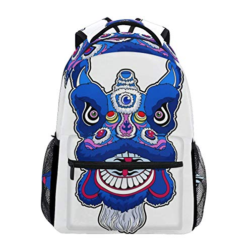 School Bag Chinese Dance Lion College Gift Student Travel School Printed Unique Lightweight Durable Stylish Casual Shoulder Bag Bookbag Backpack