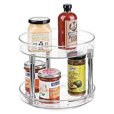 mDesign Two Level Lazy Susan Turntable Food Storage Container for Cabinets, Pantry, Refrigerator, Countertops, BPA Free - Spinning Organizer for Spices, Condiments, Baking Supplies - 9  Round, Clear