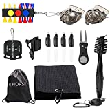 R.HORSE 12Pcs Golf Accessories Gift Set, Retractable Cleaning Brush, Foldable Divot Tool, Golf Ball Line Alignment Tool Marker Pen Kit, Golf Tees, Microfiber Towel, Black Drawstring Bag for Storage