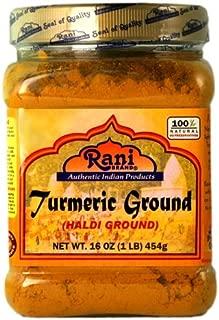 Rani Natural Turmeric (Haldi) Root Powder Spice, (High Curcumin Content) 16oz (454g) 1lb ~ 100% Pure, Salt Free | Vegan | Gluten Free Ingredients | NON-GMO | Indian Origin