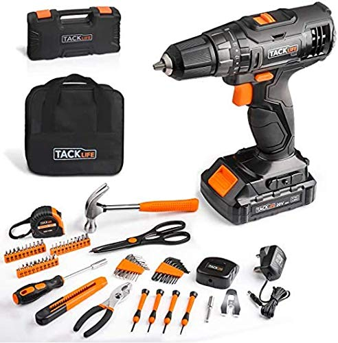 TACKLIFE 20V Cordless Drill amp Home Tool Kit 60PCSVariable Speed Drill with 191 Torque Setting Toolbox and Storage Case Included  PHK06B
