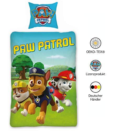 PAW PATROL Bettwäsche Kinder 135x200 cm 80x80 cm Jungen 100% Baumwolle   Kinder-Bettwäsche-Set für Jungen   Grüne Hell-Blaue Wende-Bettwäsche Deutsche Standardgröße mit ÖKO-TEX Siegel