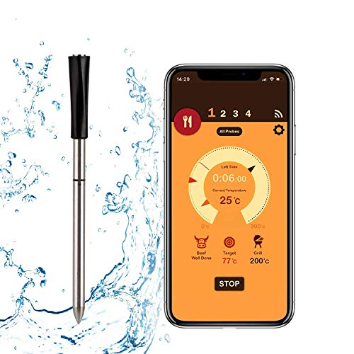 Wireless Meat Thermometer with Smart Bluetooth and Digital Connectivity for BBQ, Oven, Smoker, Stove...