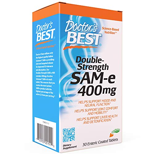 Doctor's Best SAM-e 400 mg, Vegetarian, Gluten Free, Soy Free, Mood and Joint Support, 30 Enteric Coated Tablets