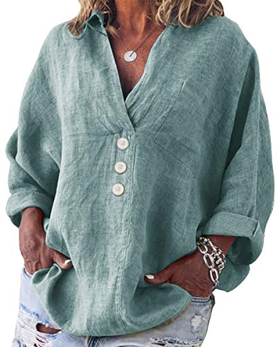 Yidarton Bluse Damen Langarm Oberteil Casual V-Ausschnitt Tops Tunika Lose Baumwolle Große Größen Hemd Leinenbluse (Grün, 3XL)