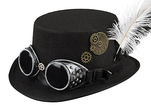 This hat from Boland is the ideal accessory for steampunk costumes. The black hat for women is equipped with removable glasses. The hat is decorated with a black and white feather and gears Steampunk is the look that combines the past with the future...