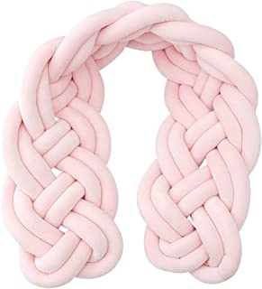 Baby Crib Bumper Knotted Braided Soft Cot Bumper Braid Pillow For Crib Nursery Baby'S Room Decoration Pillow Skin Soft For Baby Nursery Crib Bedding,Pink-2m
