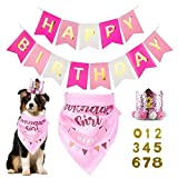 zhongfeistore Dog Birthday Bandana Girl Boy - Dog Birthday Party Supplies with Hat & Dog Happy Birthday Banner and Dogs First Birthday Party Crown and Triangle Scarf, Suitable Dogs