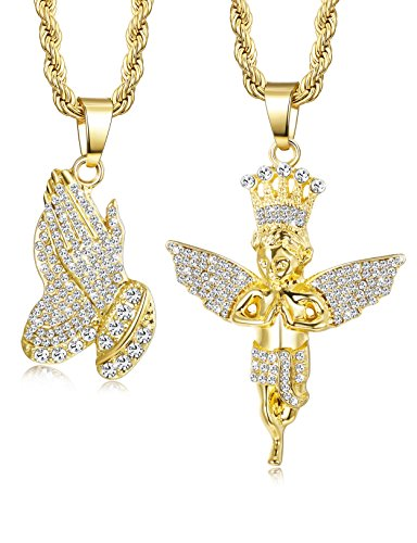 Jstyle 2Pcs Gold Plated Necklaces for Women Men Prayer Hand Angel Pendant Necklace Ice Out Hip Hop Rope Chain 24' 30'