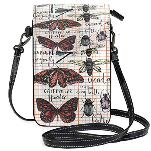 XCNGG Telefontasche Butterflies Insects Cell Phone Purse Wallet for Women Girl Small Crossbody Purse Bags