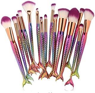15pcs Mermaid Makeup Brushes Set Eyeshadow Eyeliner Blush Blending Contour Foundation Cosmetic Beauty Make Up Brush Tools Kit