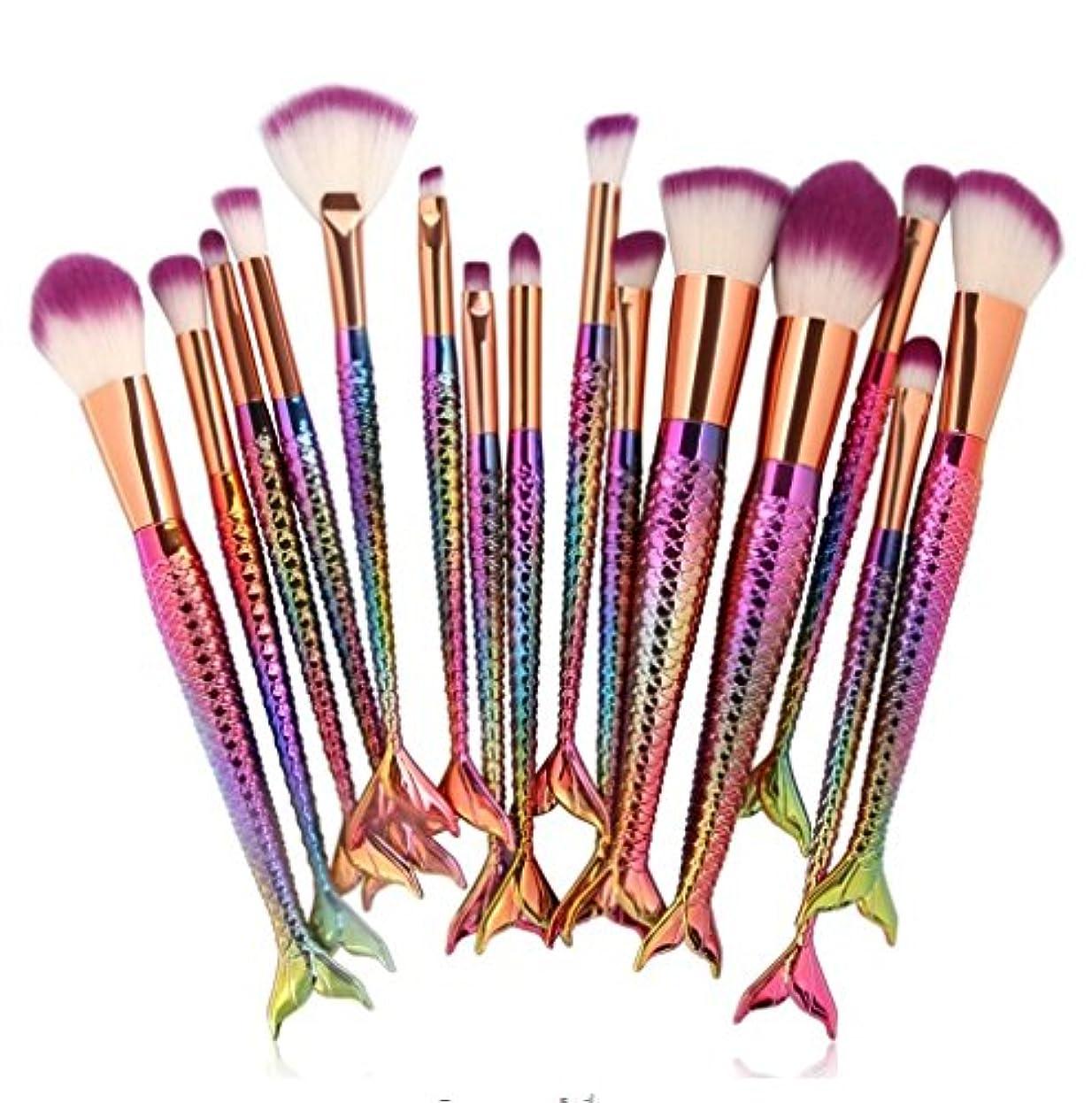 導体勃起宣言する15pcs Mermaid Makeup Brushes Set Eyeshadow Eyeliner Blush Blending Contour Foundation Cosmetic Beauty Make Up Brush Tools Kit