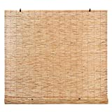 Light-Filtering Bamboo Reed Roman Blind Shades for Windows, Manual Roll-Up 72 in H x 48 in W (Natural, 60 in W x 72 in H)
