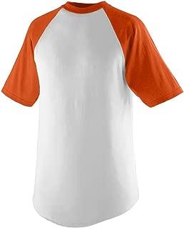 Youth Short Sleeve Baseball Jersey - White and ORANGE - LARGE
